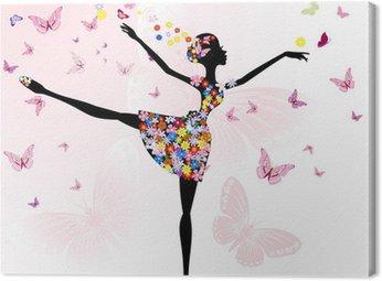 Tableau sur Toile Ballerine fille avec des fleurs avec des papillons