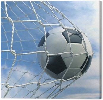 Tableau sur Toile Ballon de football dans le filet