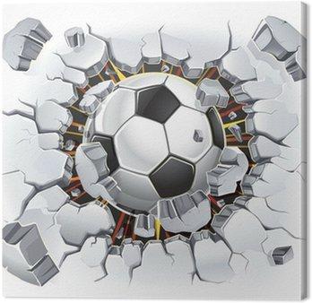 Tableau sur Toile Ballon de football passant à travers un mur