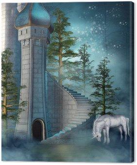 Tableau sur Toile Baśniowa wieża Zamkowa z jednorożcem