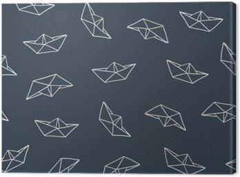 Tableau sur Toile Bateau de papier seamless