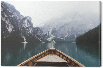 Tableau sur Toile Bateau en bois dans le lac Braies