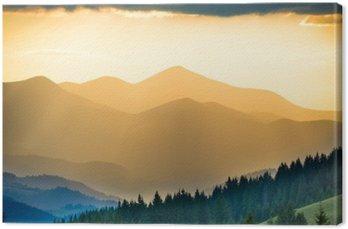 Tableau sur Toile Beau coucher de soleil dans les montagnes