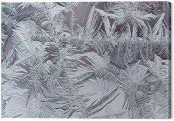 Tableau sur Toile Beau motif givré d'hiver en cristaux transparents fragiles sur le verre