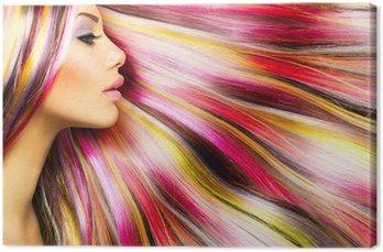 Tableau sur Toile Beauté Mode Fille Modèle avec Colorful Cheveux colorés