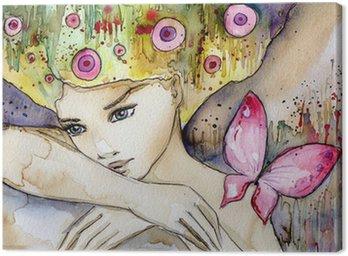 Tableau sur Toile Belle fille avec papillon