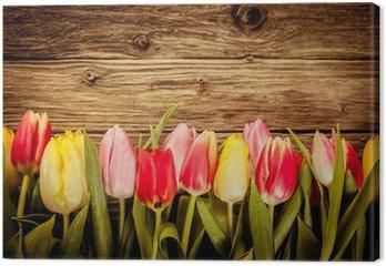 Tableau sur Toile Belle tulipe frais frontière sur bois rustique