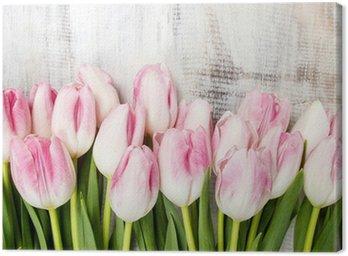 Tableau sur Toile Belle tulipes roses et blanches sur fond de bois. L'espace de copie