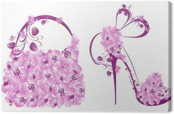 Tableau sur Toile Belles chaussures et sacs féminins