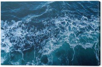 Tableau sur Toile Bleu texture de la mer avec des vagues et de la mousse