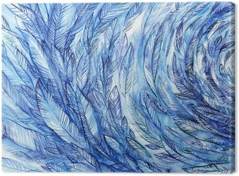 Tableau sur Toile blue feathers in a circle, watercolor abstract background