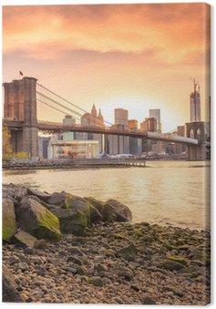 Tableau sur Toile Brooklyn Bridge au soleil couchant