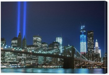 Tableau sur Toile Brooklyn Brigde et les tours des lumières, New York City