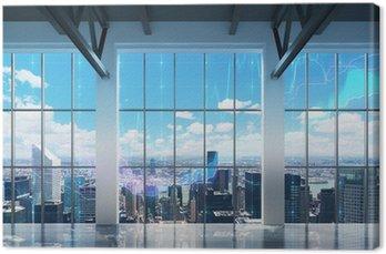 Tableau sur Toile Bureau contemporain avec vue sur New York. tableaux financiers sont tirés sur les fenêtres.