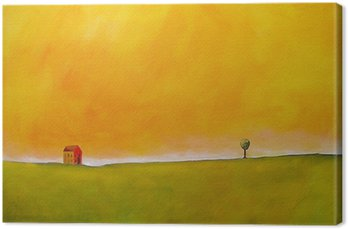 Tableau sur Toile C'est une peinture abstraite d'une scène de ferme