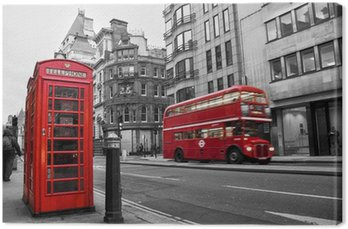 Tableau sur Toile Cabine téléphonique et bus rouges à Londres (Royaume-Uni)
