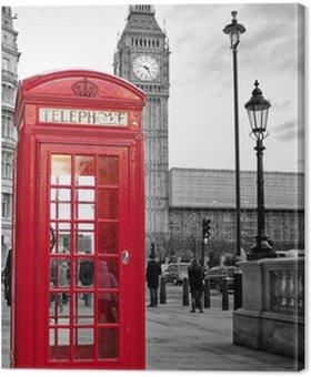 Tableau sur Toile Cabine téléphonique rouge à Londres avec Big Ben en noir et blanc