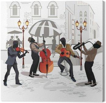 Tableau sur Toile Café de la rue avec des musiciens