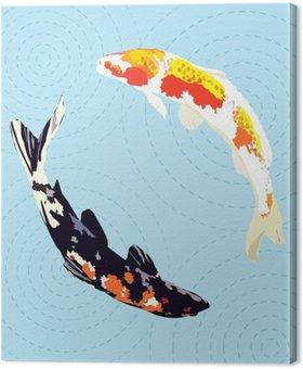 Tableau sur Toile Carpes chinoises, poissons koi japonais, illustration vectorielle