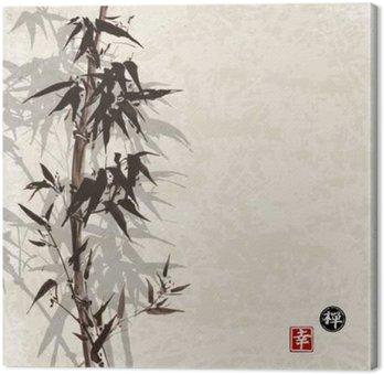 Tableau sur Toile Carte de bambou sur fond vintage dans sumi-e style. Hand-drawn avec de l'encre. Contient hiéroglyphe - le bonheur, la chance