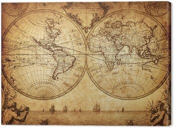 Tableau sur Toile Carte de cru du monde 1733