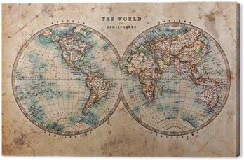 Tableau sur Toile Carte de Vieux Monde dans les hémisphères