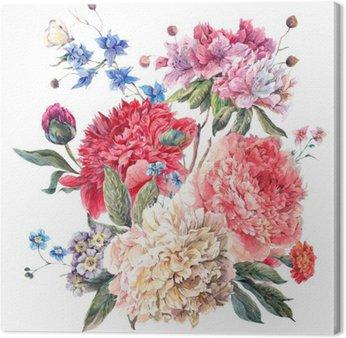 Tableau sur Toile Carte de voeux florale vintage avec Blooming Pivoines