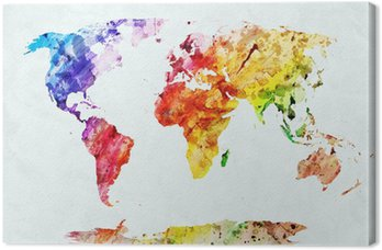 Tableau sur Toile Carte du monde aquarelle