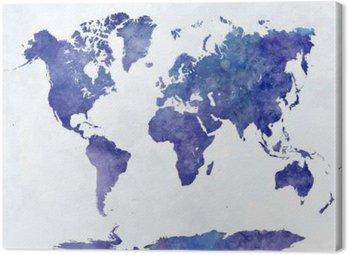 Tableau sur Toile Carte du monde dans l'aquarelle