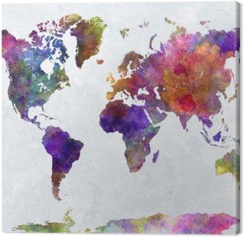 Tableau sur Toile Carte du monde dans watercolorpurple et bleu