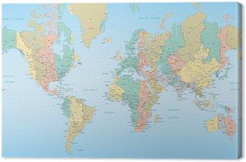 Tableau sur Toile Carte du monde des fuseaux horaires