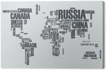 Tableau sur Toile Carte du monde: les contours du pays se compose des mots