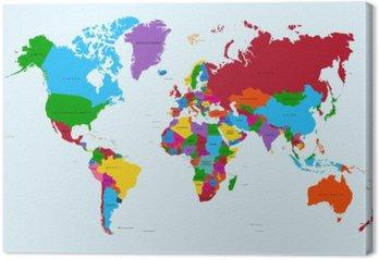 Tableau sur Toile Carte du monde, pays coloré atlas fichier vectoriel EPS10.