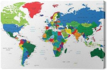 Tableau sur Toile Carte du monde pays