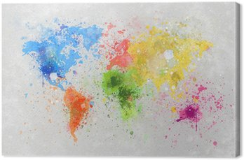 Tableau sur Toile Carte du monde peinture