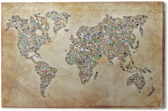 Tableau sur Toile Carte du monde photos, texture vintage