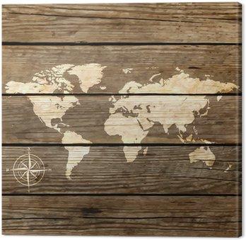 Tableau sur Toile Carte du monde sur un vecteur de planche de bois