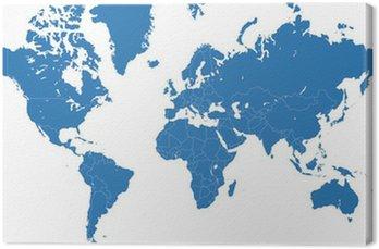 Tableau sur Toile Carte du monde vecteur bleu avec les frontières des pays
