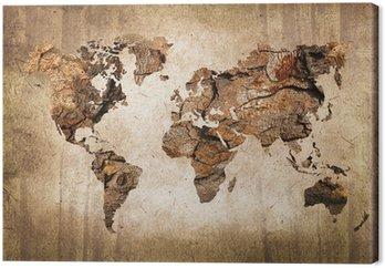 Tableau sur Toile Carte du monde vintage en bois