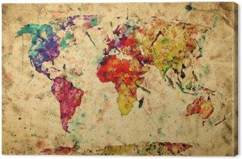 Tableau sur Toile Carte du monde vintage. Peinture colorée, aquarelle sur papier grunge