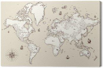 Tableau sur Toile Carte haut détaillée, Vieux monde avec des éléments décoratifs