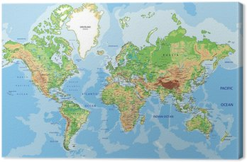 Tableau sur Toile Carte physique très détaillée du monde avec l'étiquetage.