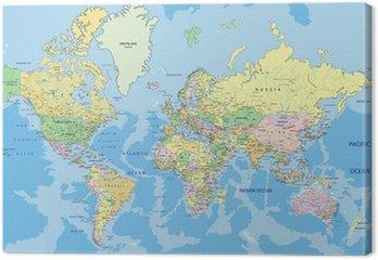 Tableau sur Toile Carte politique très détaillée du monde avec l'étiquetage.