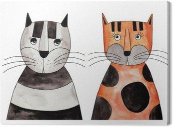Tableau sur Toile Cats. Illustration, encre et aquarelle sur papier