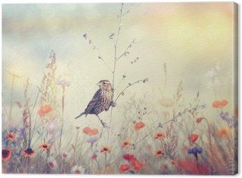 Tableau sur Toile Champ de fleurs sauvages et un oiseau