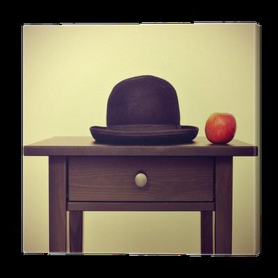 Tableau sur toile chapeau melon et pomme hommage ren - Tableau chapeau melon pomme verte ...