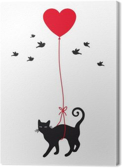 Tableau sur Toile Chat avec ballon de coeur, vecteur