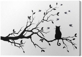 Tableau sur Toile Chat sur un arbre avec des oiseaux, vecteur