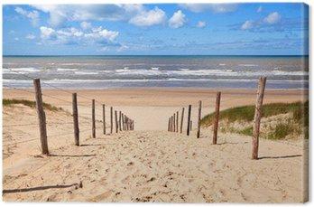 Tableau sur Toile Chemin de la plage de sable par la mer du Nord