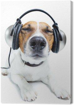 Tableau sur Toile Chien écoutant la musique